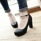 Ankle Strap Rhinestone Pearls Platform Pumps High Heels for Women 6520