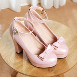Bow Ankle Strap Platform Pumps High Heels for Women 2906