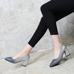 High Heel Sequins Block Heel Pumps