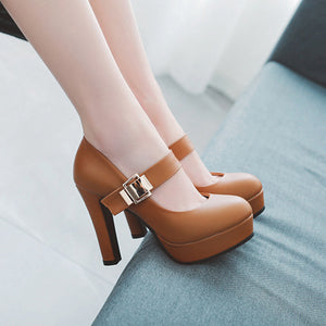Shallow Mouth Platform Super High Heel Pumps