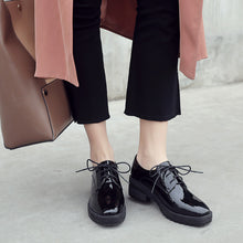 Load image into Gallery viewer, Square Heel Oxford Shoes Platform Leather Students Leisure Women Chunky Heels