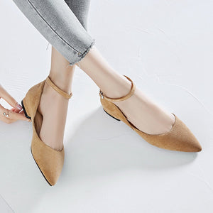 Casual Buckle Leather Women Low Heeled Shoes