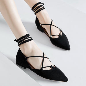 Pointed Toe Corss Straps Women Low Heeled Shoes