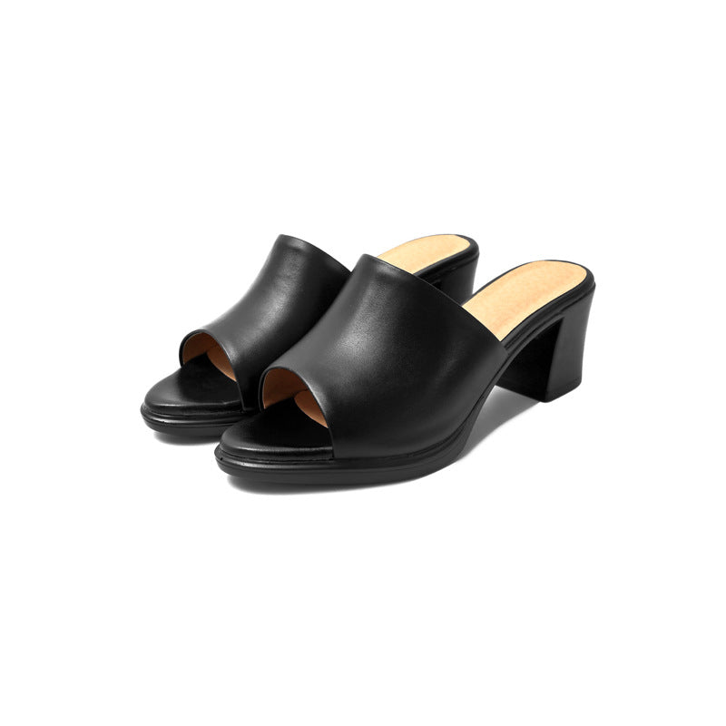 Women's Genuine Leather Outdoor Slippers Chunky Heel Sandals