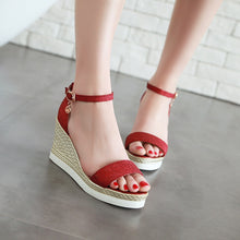 Load image into Gallery viewer, Women's Hollow Sequin Buckle Platform Wedge Sandals
