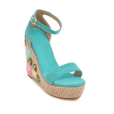 Women's Elastic Embroidered Platform Wedge Sandals