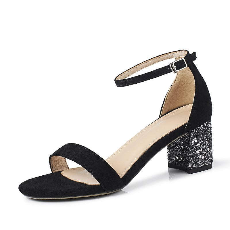 Ankle Strap Sequin Suede Chunky Heels