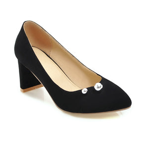 High Heel Pointed Shallow Mouth Block Heel Pumps