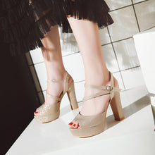 Load image into Gallery viewer, Women's High-heeled Thick-heeled Platform Sequins Wedding Shoes