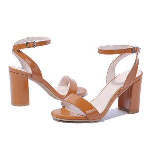 Women's Genuine Leather Open-toed Buckle Chunky Heel Sandals