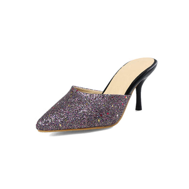 Women's High Heel Pointed Toe Large Size Slipper Sequin Stiletto Heel Sandals