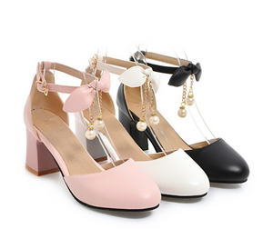 Fashion Bow Ankle Straps Sandals Pumps High Heels Women Dress Shoes 5597