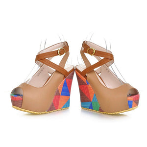 Cross Straps Women Wedges Platform Shoes