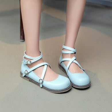 Round Toe Cross Straps Women Flats Shoes 2527