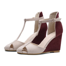 Load image into Gallery viewer, Women's T Strap Buckle Wedge Sandals