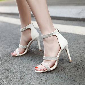 Rhinestone Sandals Women Pumps Peep Toes High Heels Spike Shoes Woman
