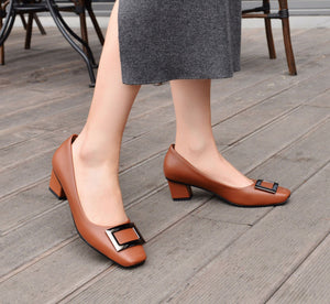 Squaretoe  Buckle Shallow Mouth Shoes Women Chunky Heels Pumps