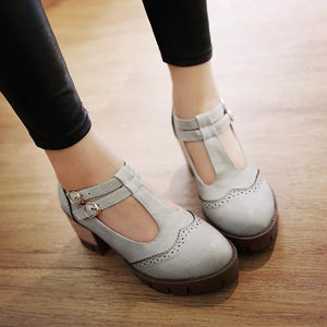 Casual T Straps Round Toe Buckle Thick Heels Women Shoes Plus Size