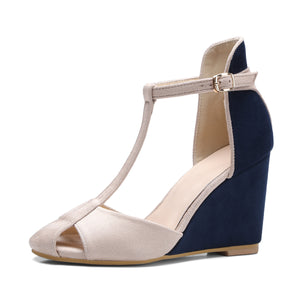 Women's T Strap Buckle Wedge Sandals
