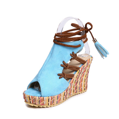 Women's Fish Mouth Straps Wedge Sandals