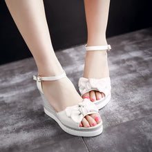 Load image into Gallery viewer, Women's Ankle Strap Bow Tie Platform Wedge Sandals