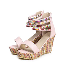 Load image into Gallery viewer, Women's Beads Platform Wedge Sandals