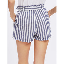 Load image into Gallery viewer, High Waist Stripe Pattern Women Mini Shorts Belted 7963