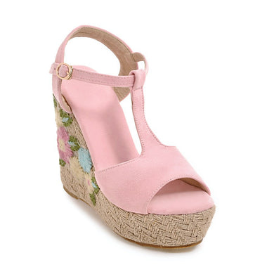 Women's Buckle Fish Mouth Open Toe Platform Wedge Sandals