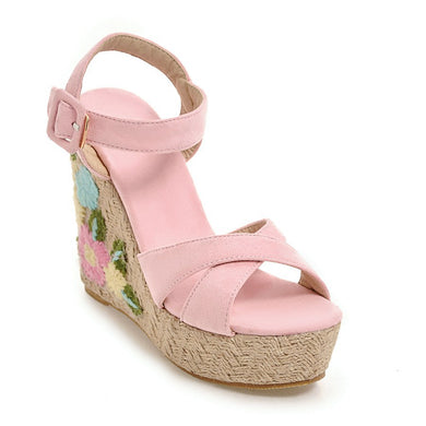 Women's Buckle Belt Open-toed Platform Wedge Sandals