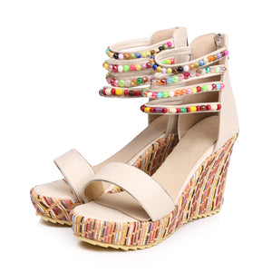 Women's Beads Platform Wedge Sandals