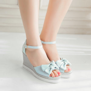 Women's Ankle Strap Bow Tie Platform Wedge Sandals