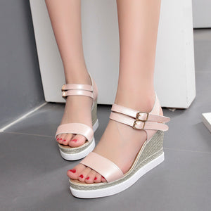 Women's Buckle Wedge Sandals