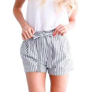 High Waist Stripe Pattern Women Mini Shorts Belted 7963