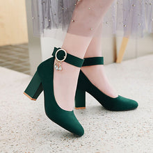 Load image into Gallery viewer, Pointed Toe High-heeled Buckle Block Heel Pumps