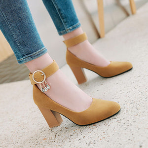 Pointed Toe High-heeled Buckle Block Heel Pumps