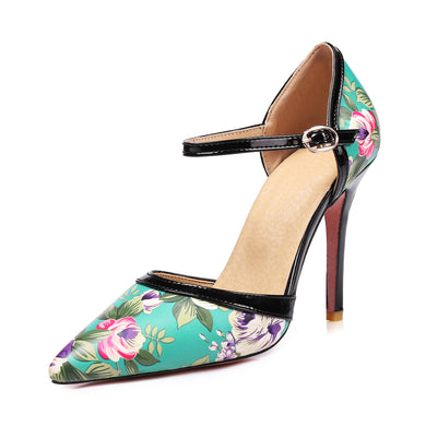 Women's Flower Printed Pointed Toe High Heel Bridal T Strap Stiletto Heel Sandals