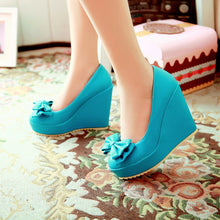 Load image into Gallery viewer, Women Wedges Bowtie Platform Shoes
