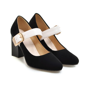 Coarse Heel High Heel Buckle Mary Janes