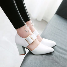 Load image into Gallery viewer, High Heel with Round Head Belt Buckle Chunky Pumps