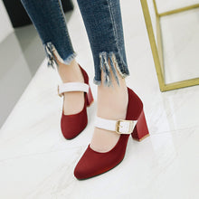 Load image into Gallery viewer, Coarse Heel High Heel Buckle Mary Janes