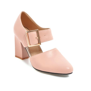 High Heel with Round Head Belt Buckle Chunky Pumps