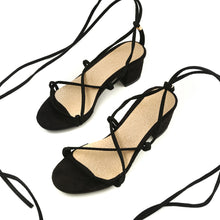 Load image into Gallery viewer, strappy women sandals thick heel middle heels shoes