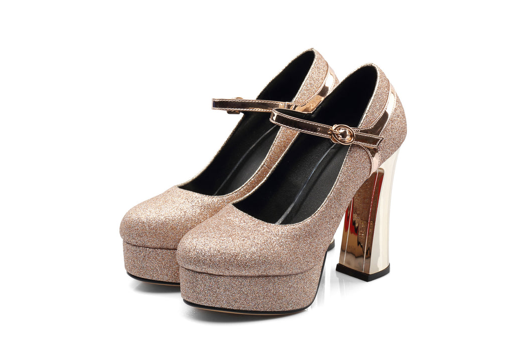 Mary Janes Platform Pumps Chunky Heel Pumps