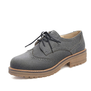 Women's Square Heel Large Size Lace Up Low Heeled Oxford Shoes