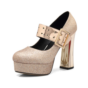 Women's Chunky Heel Pumps Platform Sequin Shallow Mouth