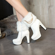 Load image into Gallery viewer, Faux Fur Chains High Heels Short Platform Boots Winter Women Shoes 5529