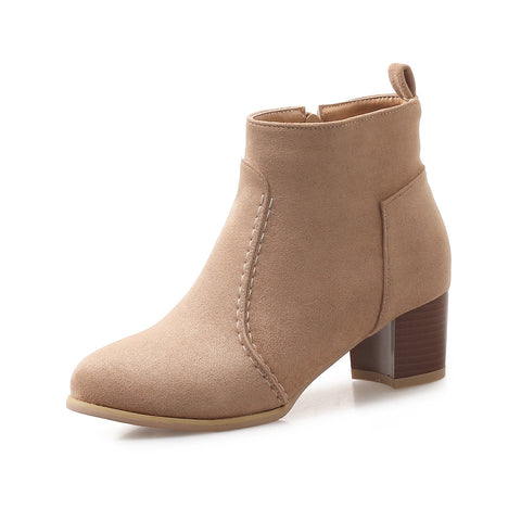 Suede Mid-Heel Short Boots Women Shoes for Winter 6832