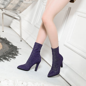 Mid Calf Boots High Heel Winter Shoes for Woman 4863