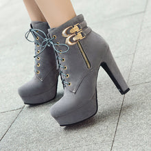 Load image into Gallery viewer, Lace Up Platform High Heels Short Boots Winter Women Shoes 4083