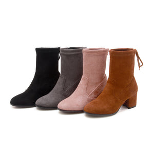 Mid-Heel Short Boots Women Shoes for Winter 8312